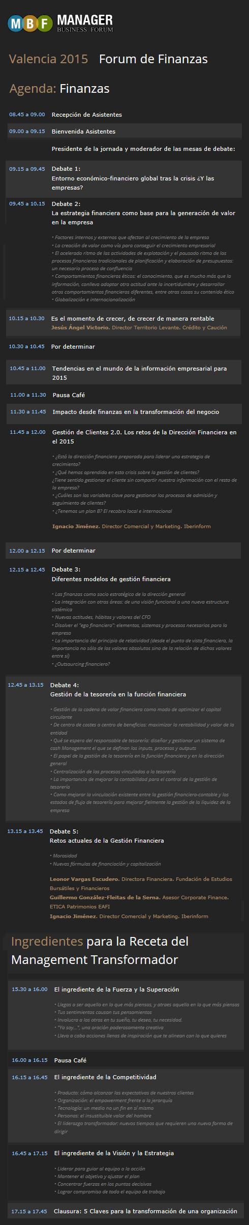 Jornada Manager Forum de Finanzas en Valencia